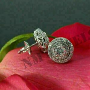 2.10Ct Round-Cut Diamond Cluster Halo Earrings